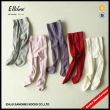 Wholesale100% pure cotton plan color double cylinder hand-linking soft tights for kids baby girl stocking new design pantyhose