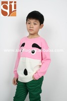Alibaba top sellers Children round neck long sleeve pullover face jacquard knitted sweater