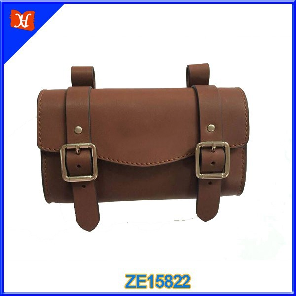 Brown leather electric bike battery bag bicycle seat bag Waterproof Bike Cycling Saddle Travel Bag