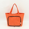 Portable polyester foldable tote bag with outside pocket/nylon foldaway shopping bag