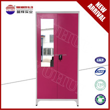 India style steel wardrobe almirah with mirror / double door clothes locker for bedroom