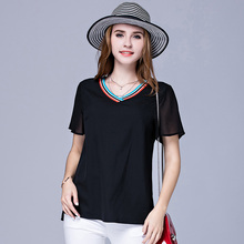 SN6766 women summer loose blouse casual chiffon short sleeve v neck tops
