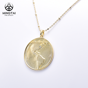 Circle world map 925 sterling silver gold plated necklace