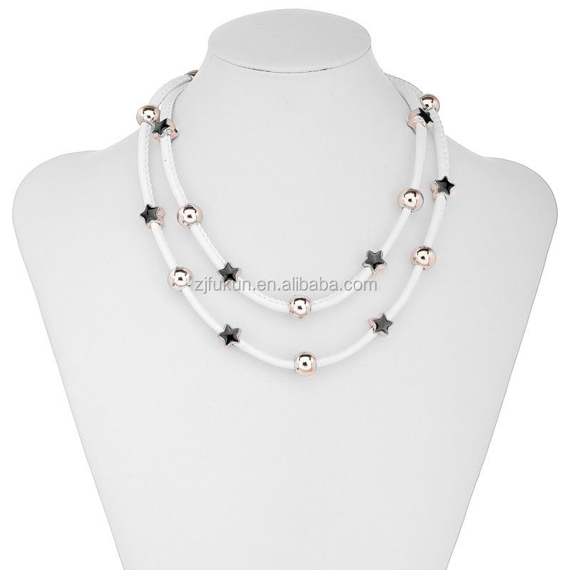 Star bead station leather magnetic necklace double strand necklace