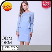 2014 light blue office dress long sleeve elegant ladies lady dress