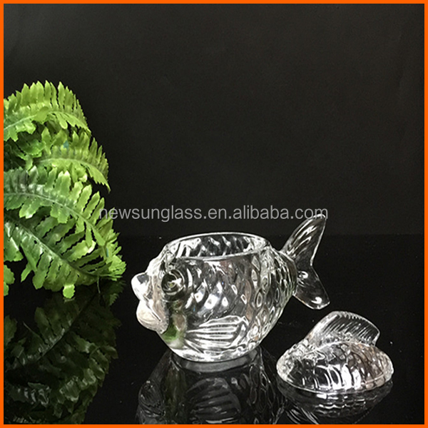 New design fish shape glass jar with easy open end