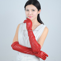 Ladies wholesale elbow length long opera leather gloves with decrotive thread