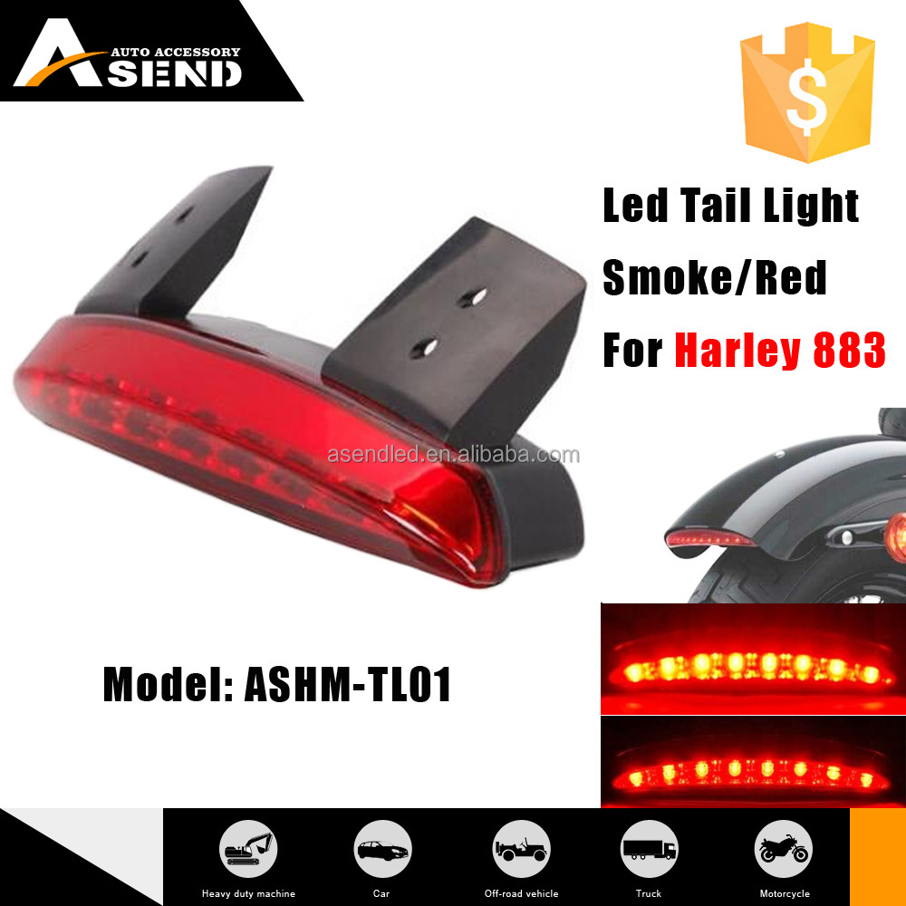 Red/smoke led tail light motorcycles high bright 1.44w rear fender led rear light for harley led turn tail light