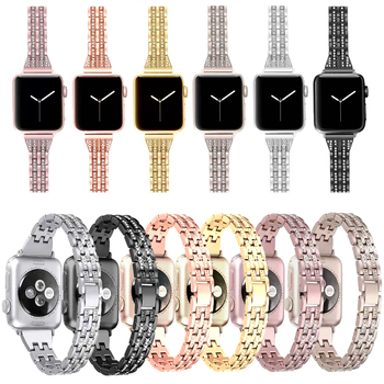 Slim Elegant Stainless Steel Crystal Diamond Bracelet for Apple iWatch Series 1 2 3 4 Metal Watch Band