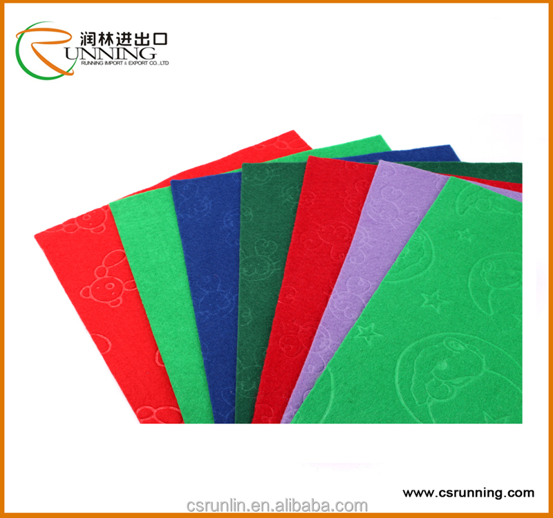 Craft embossed polyester felt in roll with many colours