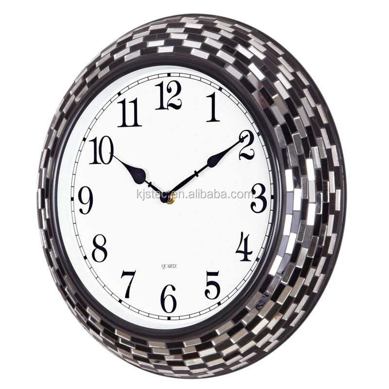 black and white handicraft mirror mosaic gift wholesale wall clock