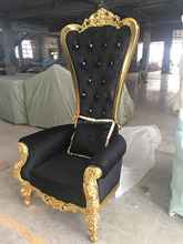 Top Quality Luxuary European Style Black&Gold Pink Pedicure Chair Throne Chair With Diamond Buttons(HB100)