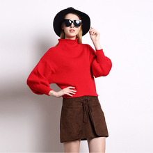 Wholesale 2016 Autumn Fashion Women Wool Blend Jumper Vintage Puff Sleeve Turleneck Oversized Knitted Pullover Sweater