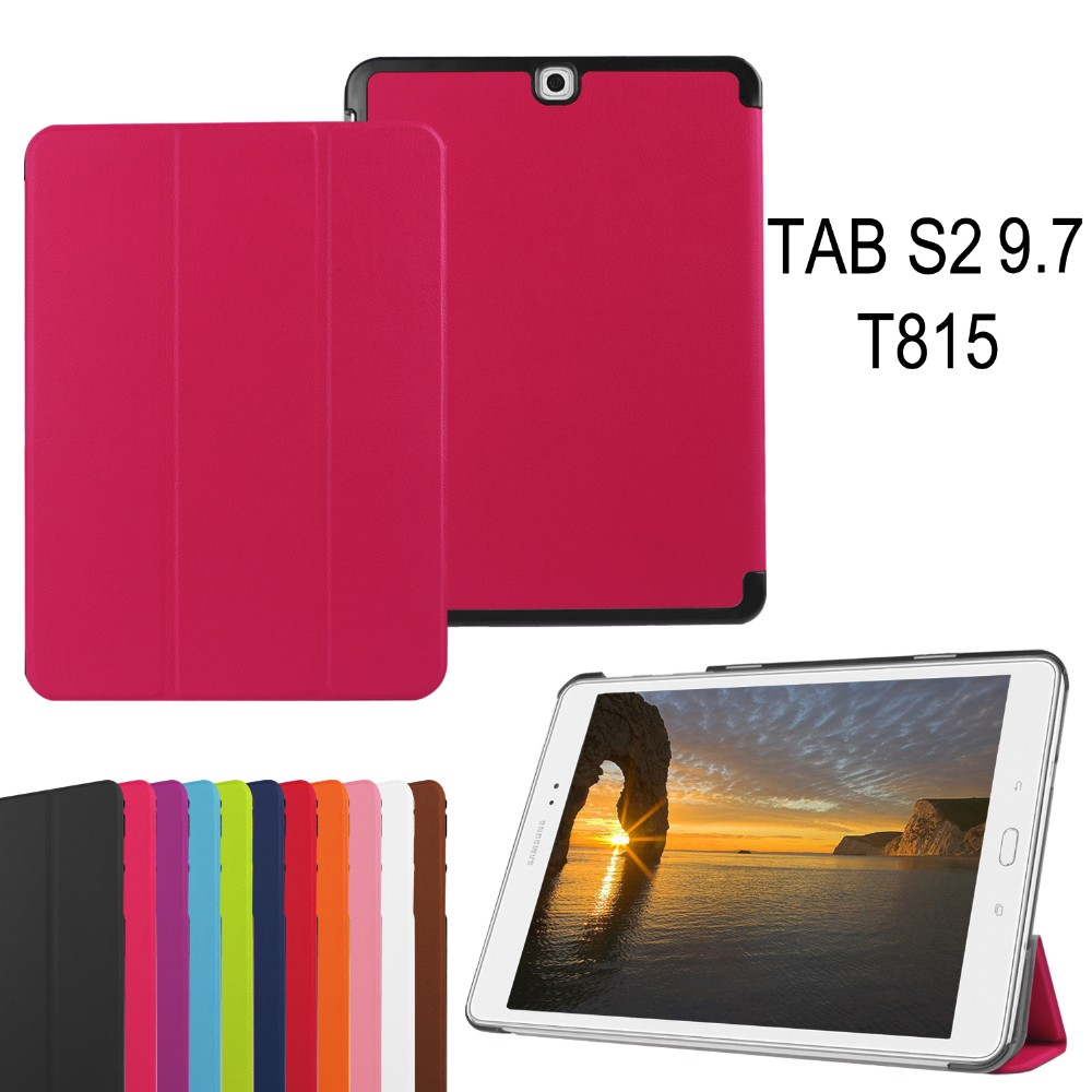 China Supplier Tri-folding Plain PU Leather Tablet Case for Samsung Tab S2 9.7 inch T815 T810