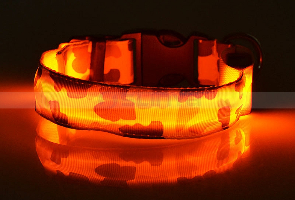 Nylon Camouflage LED Dog Collar Multi-Sized Pet Collar