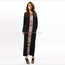 High Quality Fashionable Summer long sleeve Printed Rayon Floor Length Formal Dresses Women