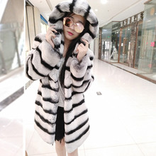 2017 Luxury New Hooded Fur Product Women Chinchilla Fur Coat