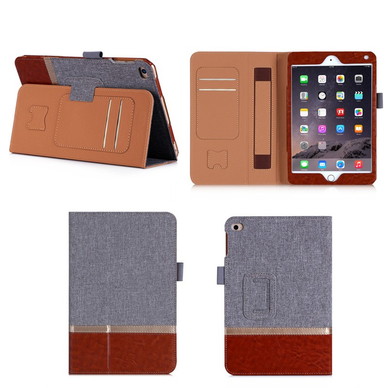 New Arrival Dual Colors Leather Case for iPad Mini 4 with Wake up/Sleeping Function, For iPad Mini 4 Leather Case