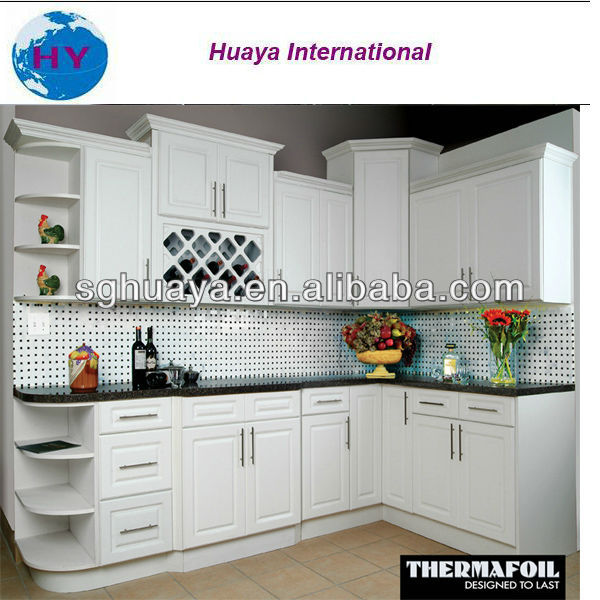 Hot sell modern style white color PVC thermal foil kitchen cabinet