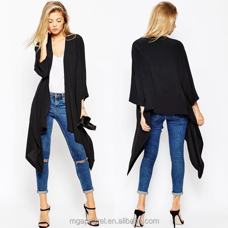 latest fashion waterfall kimono black long sleeve kimono womens kimono jacket for sale