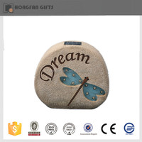 beautiful butterfly resin deco stone with solar light for garden