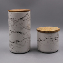 porcelain canister with bamboo cover lid
