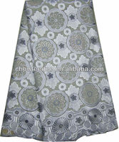 CL8112-7 African voilet cotton lace with heavy embroidery and stones