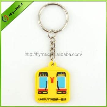 personlized guangzhou subway shaped cute PVC keychain