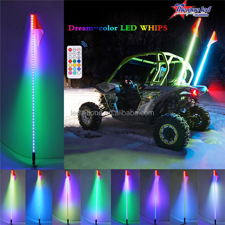Auto switching color dancing led lighted safey whips/led saftey whip/led warning whip light