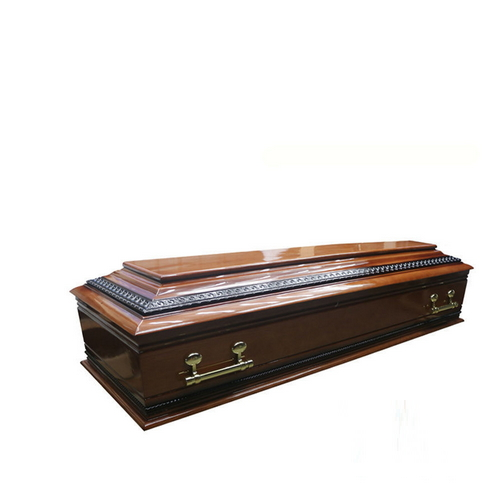 TD--E12 European style solid cherry wooden coffin for funeral use