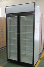 Upright double doors supermarket beverage refrigerated display case / cooler/showcase
