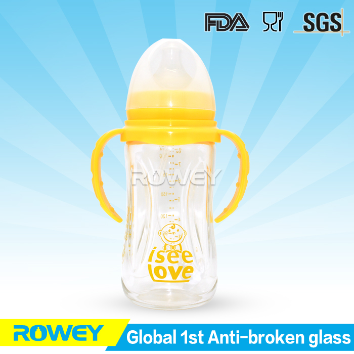 Best ANTI-BROKEN AND DROP glass feeding bottle with baby bottle cover