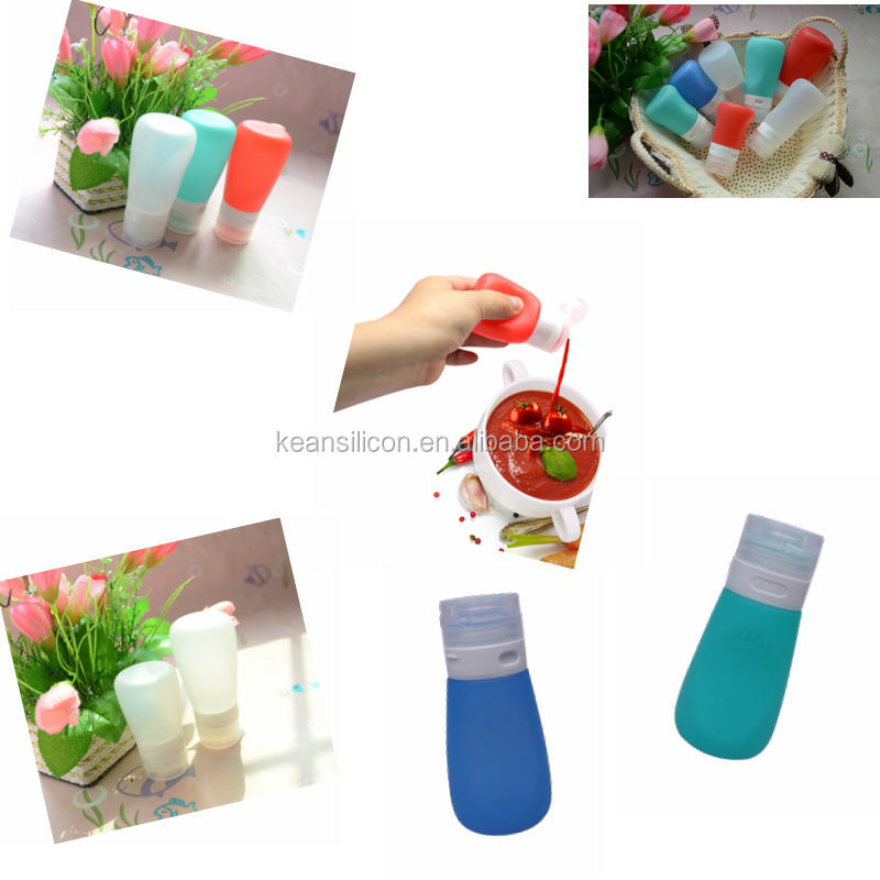 China Manufacture Wholesale Ketchup and Mustard Bottles Food Grade Carry on Silicone Travel tubes Kean Silicone