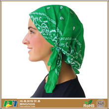 Jersey Cotton Green Classic Paisley Design Pre Tied Bandana Arab Head Scarf