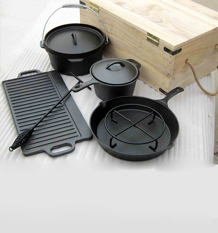 Eco-Friendly cast iron camping cookware with wooden case