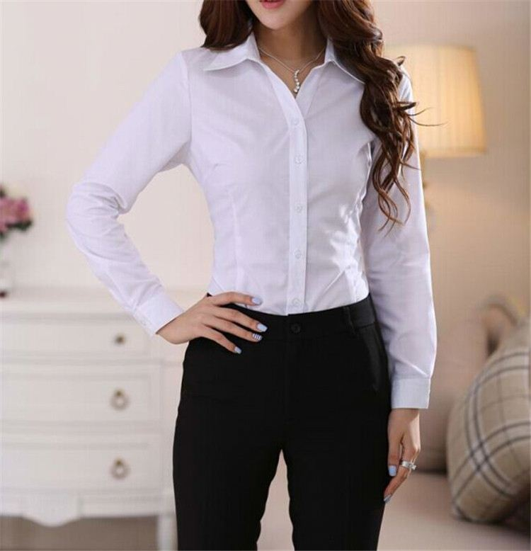 New Arrival office lady long sleeve simple formal cotton blouse women shirt
