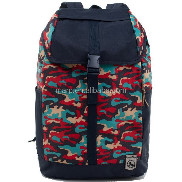 Red camo printing pattern fashion backpack