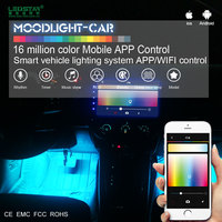 Moodlight car decoration accessories, mobile APP control car interior light 12V, 16 million color RGB