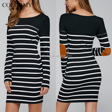 Hot sale casual clothes black long sleeve midi stripe cotton dresses for women