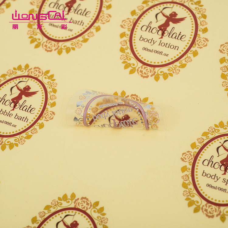 Brand self adhesive transparent pvc bottle seal sticker