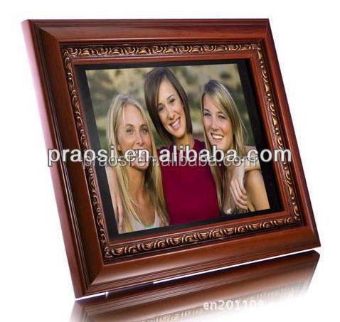 "5w louder speakers 12"" wooden frame digital picture frame build in memory"