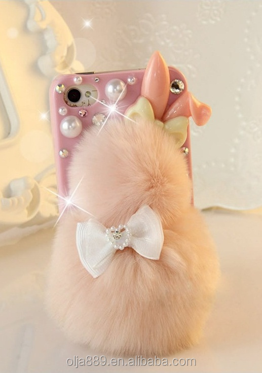 2017 new lovely desgin Rabbit Hair Ball plastic phone case for iPhone 4 Dimond PC case for iPhone 7 7Plus