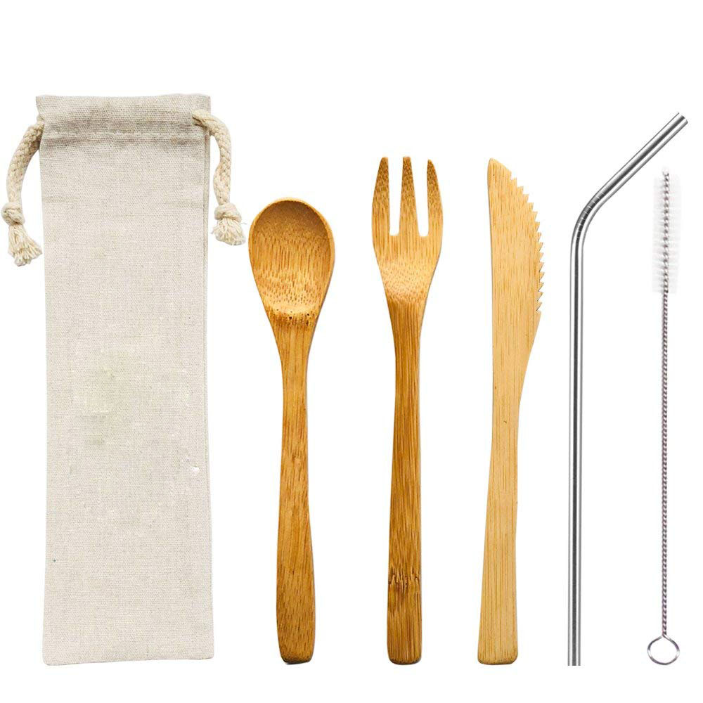 bamboo travel utensil cutlery <strong>set</strong>,bamboo Cutlery <strong>Set</strong> metal straws and cleaning brush with travel packing