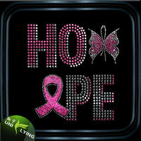2016 Custom Breast Cancer Pink Ribbon Iron on Rhinestone Transfer For Hope