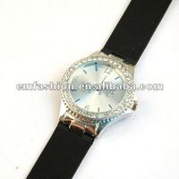 Newest model WTF letters dial Rhinestone japan quartz move silicone wristband watch