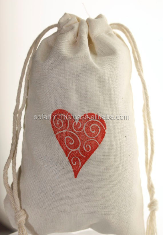 Wedding Muslin Bags/ Eco-friendly Cotton muslin drawstring bag wholesale