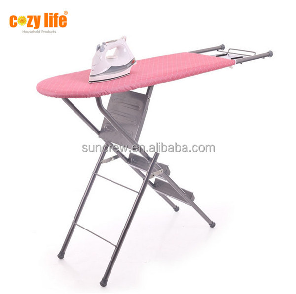 Factory best price home use two functional folding ironing board with step ladder