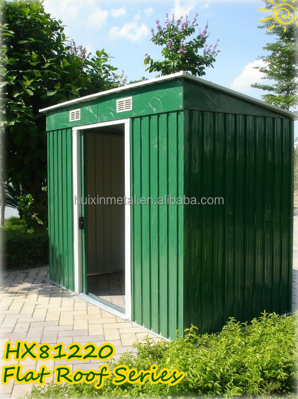 Easy store space saving garden tools 6x4 flat roof metal shed HX81222