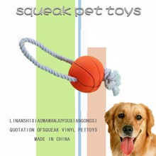 Factory Fine Pet Products Basketball Rope Dog Toy Squeakers Wholesale