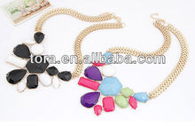 2013 new fashion colorful gold stone crystal color change necklace